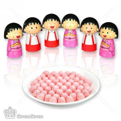 樱桃小丸子公仔糖果罐水果脆皮软糖35g