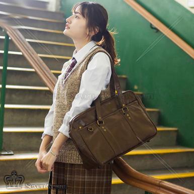 日系学院风PU皮革制服包-棕