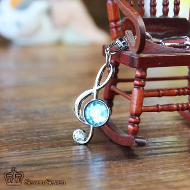 初音高音音符施华洛宝石钥匙扣(蓝色)