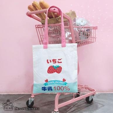 牛奶草莓帆布单肩/手提包